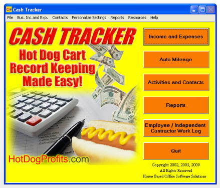 Hot Dog Cash Tracker software