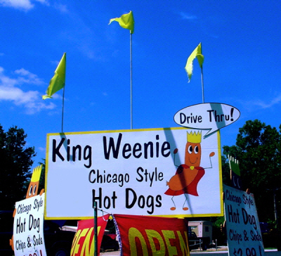 King Weenie Hot Dogs Sign